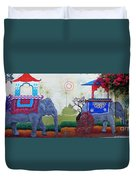 Amazing Wall Art Painting Or Elephants Duvet Cover