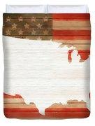 America Rustic Map On Wood Duvet Cover