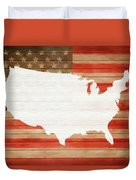 America Rustic Map On Wood Duvet Cover