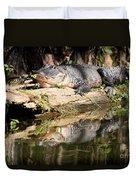 American Alligator With Caterpillar Duvet Cover