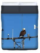 American Bald Eagle Perched On Communication Tower Duvet Cover