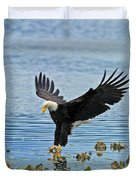 American Bald Eagle Sets Down On Fish Duvet Cover