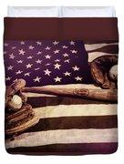 American Baseball Grunge Duvet Cover
