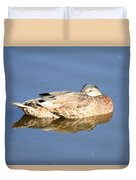 American Black Duck Snoozing Duvet Cover