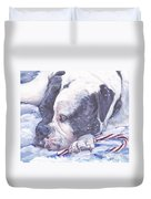 American Bulldog Christmas Duvet Cover