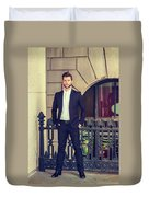 American Businessman With Beard Working In New York Duvet Cover