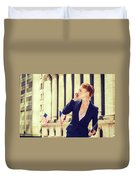 American Businesswoman Working In New York Duvet Cover