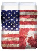 American Canadian Tattered Flag Duvet Cover