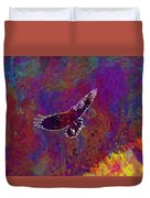 American Crow Flying Ave Fauna  Duvet Cover
