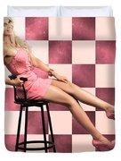American Culture Pin Up Girl Inside 60s Retro Diner Duvet Cover