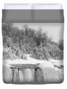 American Falls In Winter In Black And White Duvet Cover