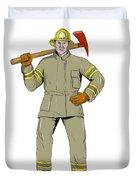 American Firefighter Fire Axe Drawing Duvet Cover