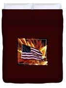 American Flag And Fireworks Duvet Cover