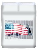 American Flag In Front Of Business Building  Duvet Cover