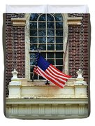 American Flag On An Old Building Duvet Cover