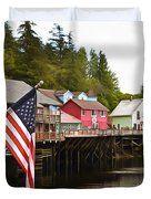 American Flag On Creek Street Ketchikan Alaska Painting Duvet Cover