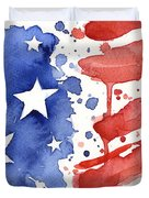 American Flag Watercolor Painting Duvet Cover