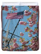 American Flag With Cherry Blossoms Duvet Cover