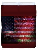 American Flag With Fireworks Display Duvet Cover