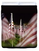 American Flags Tribute To 9-11 Duvet Cover