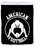 American Football Player With Ball And Helmet Duvet Cover