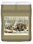 American Forest Scene Maple Sugaring Duvet Cover