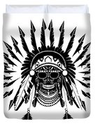 American Indian Skull Icon Background, Black And White  Duvet Cover