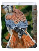 American Kestrel In My Garden Duvet Cover