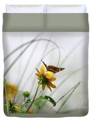 American Lady Butterfly Balancing By The Sea  Duvet Cover