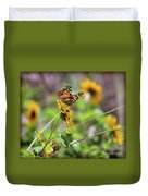 American Lady Butterfly By The Beach Duvet Cover