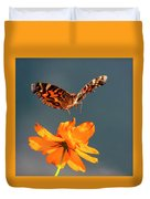 American Lady Butterfly Lands On Cosmos Flower Duvet Cover