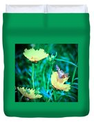 American Lady On Coreopsis Duvet Cover