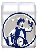 American Patriot Carry Beer Keg Circle Retro Duvet Cover