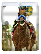 American Pharoah And Victor Espinoza Win The 2015 Preakness Stakes. Duvet Cover