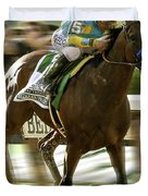 American Pharoah And Victory Espinoza Win The 2015 Belmont Stakes Duvet Cover