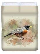 American Robin - Watercolor Art Duvet Cover