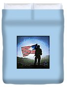 American Soldier With Flag Duvet Cover