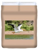 American White Pelican Above The Water Duvet Cover