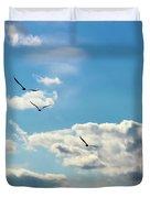 American White Pelicans Flying Duvet Cover