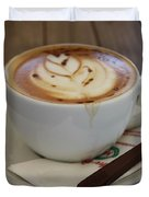 Americano Coffee With Tulip Design Duvet Cover