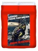 America's Fishing Fleet And Men  Duvet Cover
