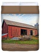 Amish Barn At Sunrise Duvet Cover