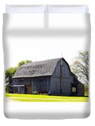 Amish Barn With Gambrel Roof And Hay Bales Indiana Usa Duvet Cover