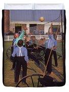 Amish Boys Play Volleyball Farm Duvet Cover