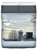 Amish Buggy At Morning Duvet Cover