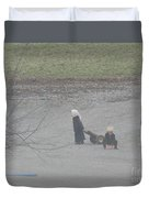 Amish Children Play Outside In The Evening Duvet Cover
