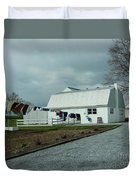 Amish Clothesline And A Barn Duvet Cover