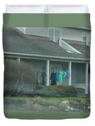Amish Clothing Hanging To Dry Duvet Cover