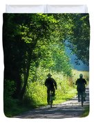 Amish Couple On Bicycles Duvet Cover