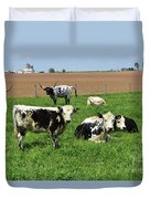 Amish Farm With Spotted Cows And Cattle In A Field Duvet Cover